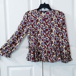 Madewell Floral Ruffle Top Size XS (0-2)